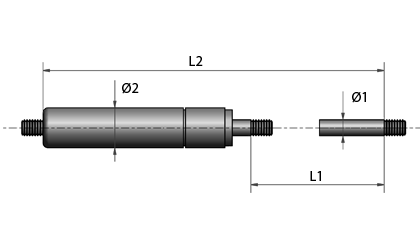 Teknisk tegning - Gjenger i begge ender - svartmalt
