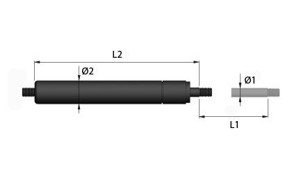 Teknisk tegning - Gasstrekkfjærer